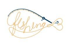 Pesque o texto feito da forma dos peixes do quadro da vara de pesca, cenografia do ícone do logotipo alaranjada e escura - ilustr ilustração stock