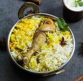 Pesque peixes e o arroz indianos do estilo de Biryani com masala picante fotografia de stock royalty free