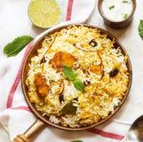 Pesque peixes e o arroz indianos do estilo de Biryani com masala picante imagem de stock royalty free
