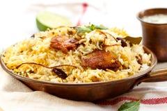 Pesque peixes e o arroz indianos do estilo de Biryani com masala picante imagem de stock