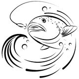 Pesque saltar del agua para asir el cebo Foto de archivo
