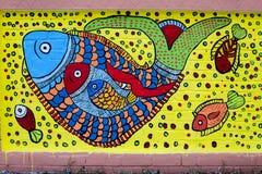 Pesque sobre sob a arte do water_Wall para as festividades de anos novos de Bangla Foto de Stock Royalty Free