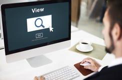 A pesquisa da busca da vista inspeciona o conceito da visão imagens de stock