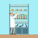 Pesquisa de trabalho do homem do cientista no laboratório químico, interior do laboratório de ciência, ilustração do vetor Imagens de Stock Royalty Free