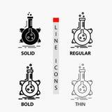 pesquisa, laboratório, garrafa, tubo, ícone do desenvolvimento na linha e no estilo finos, regulares, corajosos do Glyph Ilustra? ilustração royalty free