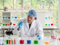 Pesquisador asiático do químico que olha uma tabuleta no laboratório, cientista que verifica a medicina imagens de stock