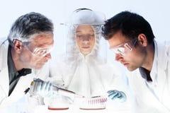 Pesquisadores dos cuidados médicos que trabalham no laboratório científico foto de stock