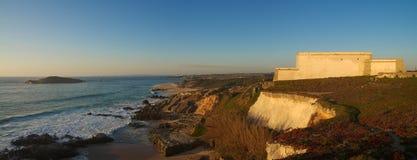 Pessegueiro beach fort and island panorama stock photos