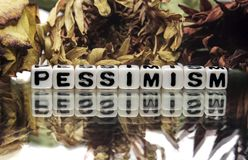 Pessimism. Text message with old flowers stock image