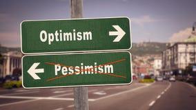 Pessimism f?r optimism f?r gatatecken kontra royaltyfri foto