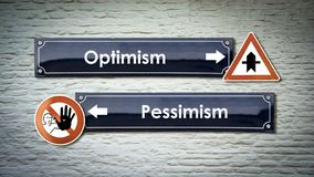 Pessimism f?r optimism f?r gatatecken kontra royaltyfri fotografi
