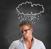 Pessimist businessman for the crisis Stock Images