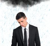 Pessimist businessman for the crisis Royalty Free Stock Images