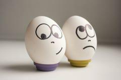 Pessimist en optimistenconcept stock afbeelding
