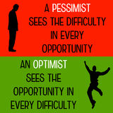 Pessimist optimist. The difference between a pessimist and an optimist Stock Image