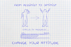 From pessimist to optimist: man changing attitude, progress bar Royalty Free Stock Image
