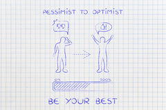 Pessimiste à l'optimiste : attitude changeante, barre de progrès et b comique Photographie stock