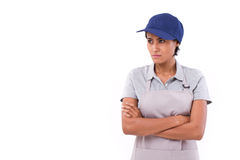 Pessimistic, sad, worry female worker looking away Stock Image