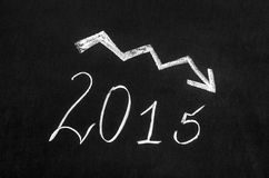 Pessimistic 2015 year graph. Drawn on the blackboard Stock Images