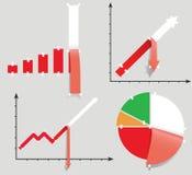 Pessimistische geplaatste diagrammen. De allegorie van de crisis. Stock Afbeelding