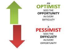 Pessimists - Optimists, Difficulty - Opportunity on white background. royalty free illustration