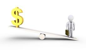 A pessoa é mais pesada do que o símbolo do dólar Fotos de Stock