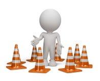 pessoa 3d com um cone do tráfego Imagens de Stock Royalty Free