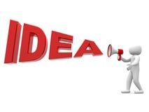 pessoa 3d com uma ideia do megafone e da palavra Imagem de Stock Royalty Free