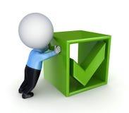 pessoa 3d pequena que empurra uma marca verde do tiquetaque. Fotos de Stock