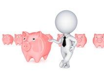 pessoa 3d pequena que mostra em um piggybank cor-de-rosa. Fotografia de Stock Royalty Free
