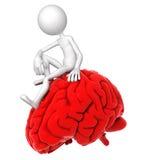 pessoa 3d que senta-se no cérebro em um pose pensativo Fotografia de Stock