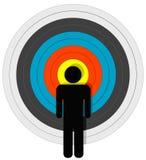 Pessoa alvejada no Bullseye Fotos de Stock Royalty Free