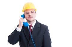Pessoa, auxílio ou apoio de contato para a empresa de construção civil Foto de Stock Royalty Free