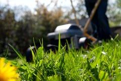 Pessoa borrada que sega o gramado com um motor do gramado Fotos de Stock