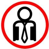 A pessoa branca do escritório do colar permitiu a estrada vermelha a ilustração circular do ícone do sinal do cuidado Imagem de Stock