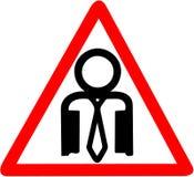 Pessoa branca do escritório do colar que adverte a ilustração circular do ícone do sinal do cuidado da estrada vermelha Fotografia de Stock