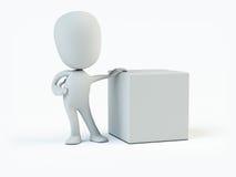 Pessoa e cubo Fotos de Stock