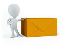 Pessoa e envelopes Fotografia de Stock