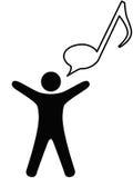 A pessoa canta a música na bolha do discurso da nota ilustração stock