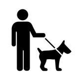 Pessoa com ícone do vetor do cão ilustração stock
