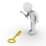 A pessoa com magnifier encontra a sucesso-chave Fotografia de Stock Royalty Free