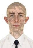 Pessoa com uma pele do computador do circuito Fotos de Stock