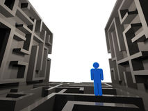 Pessoa confusa no labirinto Imagens de Stock Royalty Free