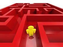Pessoa confusa no labirinto Foto de Stock Royalty Free