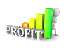Pessoa 3d branca com diagrama de carta da barra do sucesso do lucro Foto de Stock