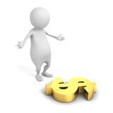 Pessoa 3d branca com símbolo de moeda dourado do dólar Fotografia de Stock Royalty Free