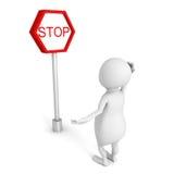 Pessoa 3d branca com sinal de estrada da parada Imagem de Stock