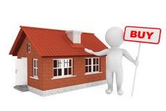 pessoa 3d com bandeira da compra e casa do tijolo Foto de Stock Royalty Free