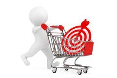 pessoa 3d com carrinho de compras e alvo como dardos rendição 3d Foto de Stock Royalty Free