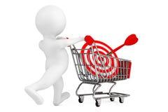pessoa 3d com carrinho de compras e alvo como dardos rendição 3d Imagem de Stock Royalty Free